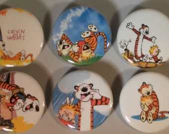 Calvin and Hobbes Badge Button Pin Set of 6