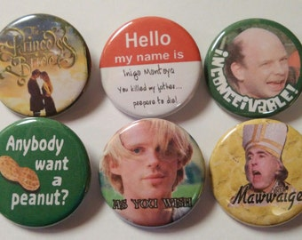 The Princess Bride Badge Button Pin set of 6