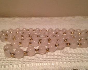 Rose Quartz and Gold Tone Bead Necklace