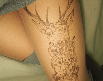 deer, tattoo, bear, tattoo, wolf, tattoo, tights ,hand painted