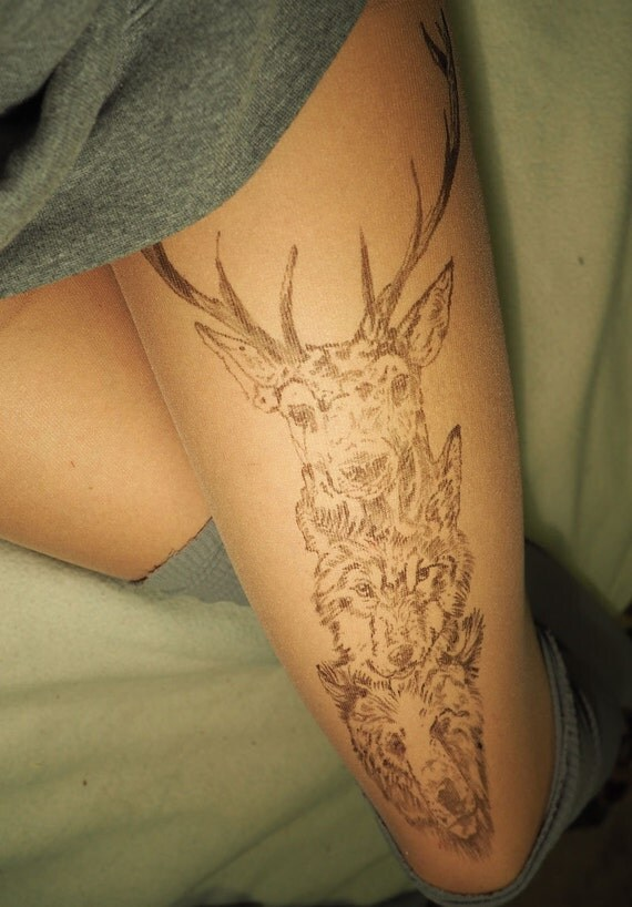 Tights, deer, bear, wolf, tattoo tights, nature clothing, hand painted