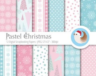 Pastel Christmas Digital Paper - Christmas Digital Paper - Pink Blue Christmas - Set of 12 Digital Scrapbooking Papers