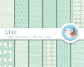 Mint Digital Paper Set - Green Digital Paper - Pastel Digital Paper - Set of 12 Digital Scrapbooking Papers