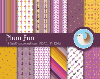 Purple and Yellow Digital Paper Set - Purple Digital Paper - Plum and Mustard Digital Paper - Set of 12 Digital Scrapbooking Papers