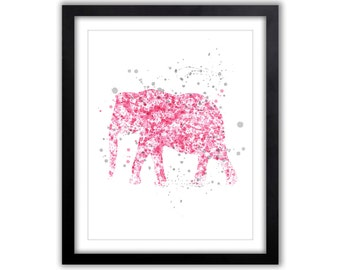 Watercolor Elephant - Nursery Art - Pink and Gray Nursery - Watercolor Splashes - Elephant Silhouette - Contemporary Nursery Art - EL059
