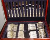 Carrs Sheffield England Sterling Silver Flatware Set Mahogany Box