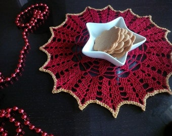 Crocheted Red Doily 10 inches Christmas Decoration