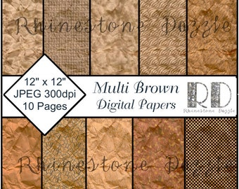 "Digital Scrapbooking Variety Brown Background Papers, Variety BROWN digital paper pack, 12""x12"" scrapbook pages"