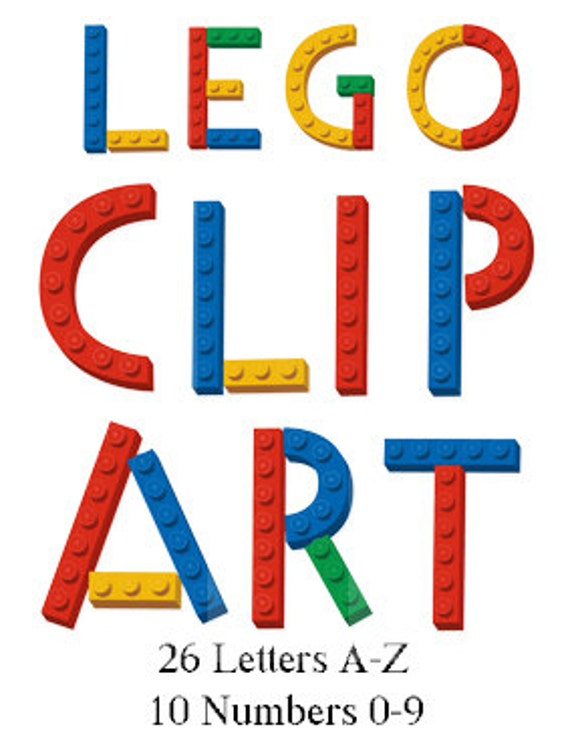 Digital Lego Clipart, 26 Letters & 10 Numbers digital clipart, lego ...