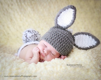 Easter Bunny Ears Hat~All Sizes~  Gray & White Crochet Photo Prop beanie~rabbit hat with stand up ears.  FREE SHIPPING