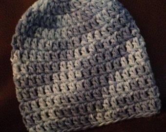 Baby Blue Crochet Cotton Hat; NB sized; CLEARANCE