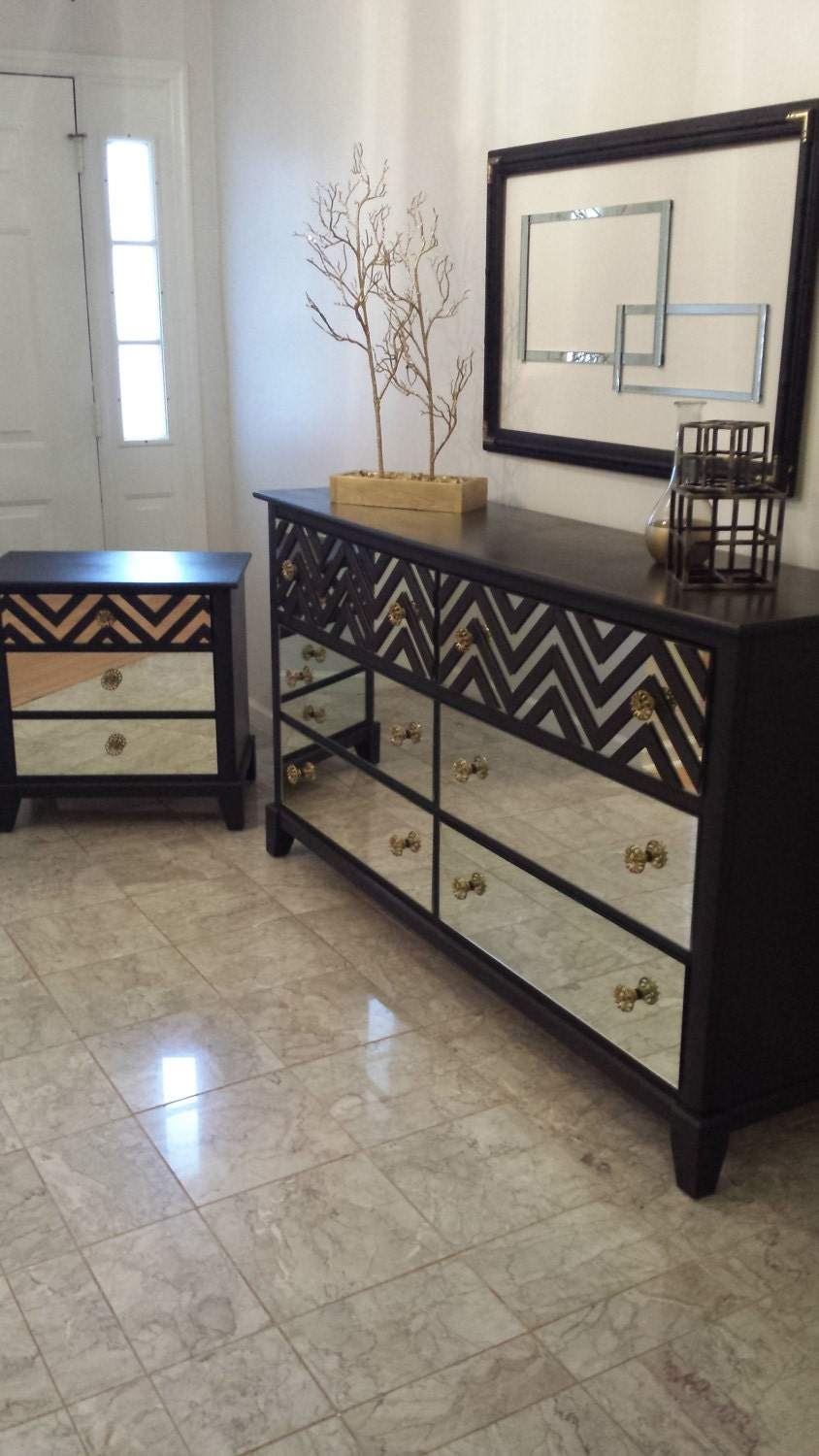 mirrored bedroom dresser set black with chevron by mirroredjewels