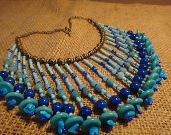 Water element. Tribal Necklace blue fringe. . Native American style. Boho, Gypsy