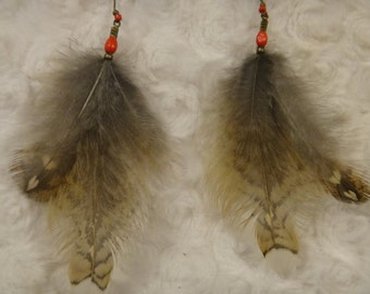 Feather earrings .Native American Inspiration . Wild partridge feather of Quebec
