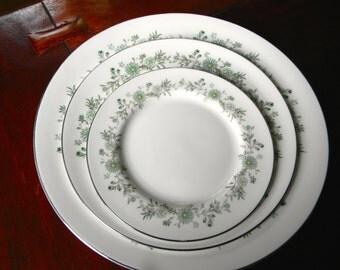 "Aynsley Bone China ""Emerald Isle"" Pattern Place Setting (3 plates)--7 sets available"