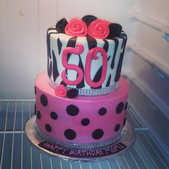 Edible Cake Decorations Bling : Handmade Edible Fondant Zebra Pink Black Roses Bling Cake