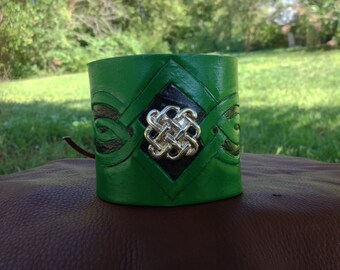 Hand Tooled Leather Celtic Cuff