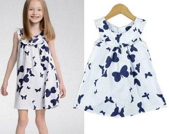Navy Blue & White Butterflies Dress