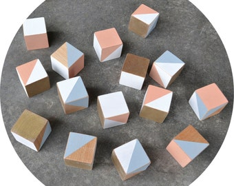 Organic Wood Building Blocks (16) Peach/Grey