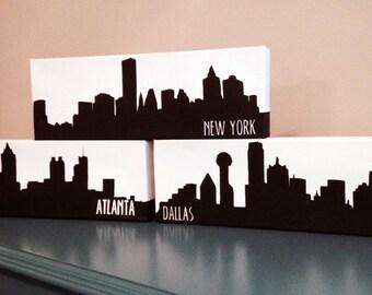 City Skyline Canvas Painting - Atlanta, Boston, Chicago, Dallas, Los Angeles, Miami, New York, Philadelphia, San Francisco, Seattle