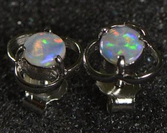 Sale: Solid Australian crystal opal earrings, crystal opal earrings, nature opal, handmade, sterling silver 925 earrings,OJDZ1001G1