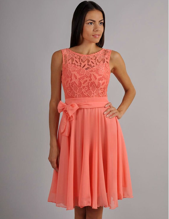 Evening Coral Dress Chiffon ,Sleeveless Dress Lace ,Cute Dress ...