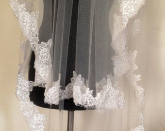 FREE SHipping! Embroidered lace wedding veil, ivory lace veil, ivory veil, lace veil.