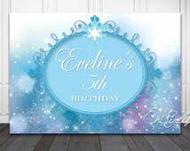 FROZEN Backdrop  -  Birthday Sign - Princess Backdrop - Frozen Party Printables - Personalized - Custom size