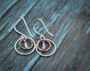 Crimped Bronze and Sterling Silver Earrings