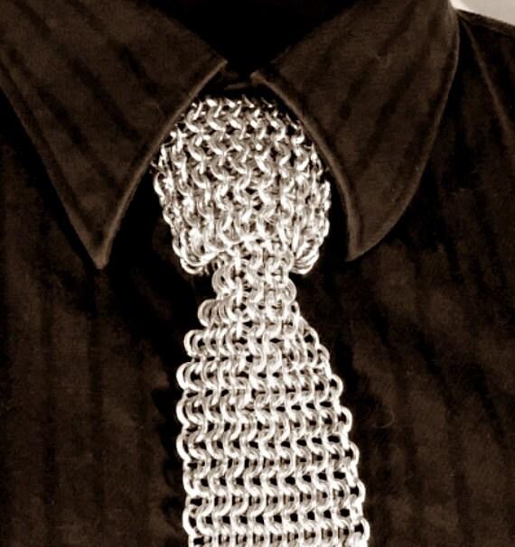 Chainmaille necktie, slim tie, straight tie.