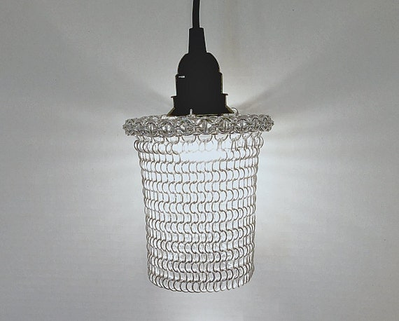 Chainmaille hanging lamp, metal hanging lamp,  Pendant Light, industrial lamp, industrial decor, unique lighting.