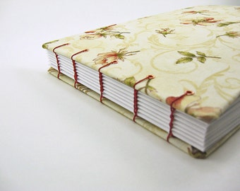 9 x 6 Unique Wedding or Anniversary Guest Book - fabric covered notebook - coptic bound, wedding gift - floral flower yellow red