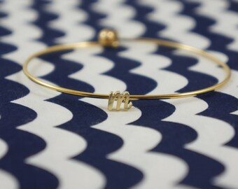 Gold Cursive Initial Bangle Bracelet