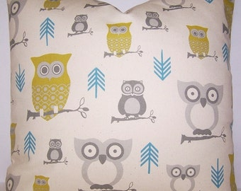 Zipper Closure Hooty Owl Pillow Cover Decorative Throw Pillow 12x16,16x16, 18x18, 20x20