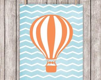 Nursery Printable Hot Air Balloon Blue Orange Chevron Art Print, 8 x 10 Instant Download Digital File