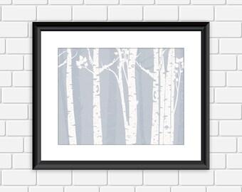 Birch Trees Printable Art Woodland Nature Tree Art Print Wall Decor, 8x10 Instant Download Digital File