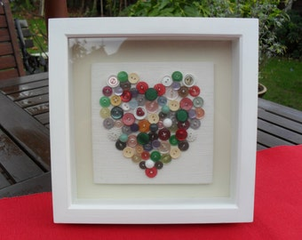BUTTON HEART Picture Handsewn with Vintage Buttons Multi Coloured Button Artwork Button Collage 3D Artwork OOAK Wedding New Home Engagement