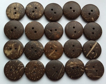 """20 Coconut Buttons 20mm Natural Coconut Shell Button 3/4 inch Round 3/4"""" Brown Wood Button Wooden Embellishments Sewing Notions Craft Supply"""