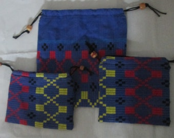 setof 3 indian cotton  handloom Draw string bags, Blue handwoven fabric bags, pouch ,purse,Travel pouch,cosmetics / acccessories kit,