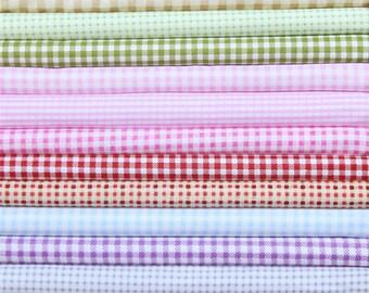 Plaid series fabric bundle patchwork fabric bundle Quilted bundle doll's clothes fabric (15pcs/set)