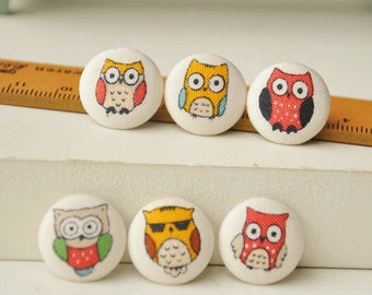 6pcs 1.8cm cute owl fabric button set owl covered buttons kids clothes buttons earring and bracele supplyt