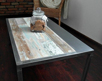 Hand Crafted Reclaimed Wood & Steel Coffee Table - Handmade Industrial Coffee Table
