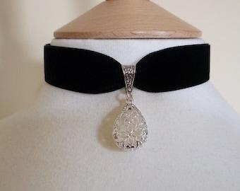 Black Velvet teardrop Choker silver tone Pendant Pagan Goth Medieval Necklace wedding scroll detailing