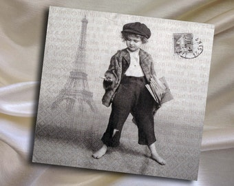 2 Paper Napkins for Decoupage, Newspaper boy, Paris, France 33x33 cm (no.23)