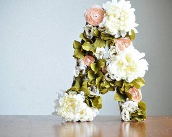 Whimsical Floral Letter Decoration For Nursery, Baby Shower, Girl's room, Baby Room, Children's Room - 24 inch