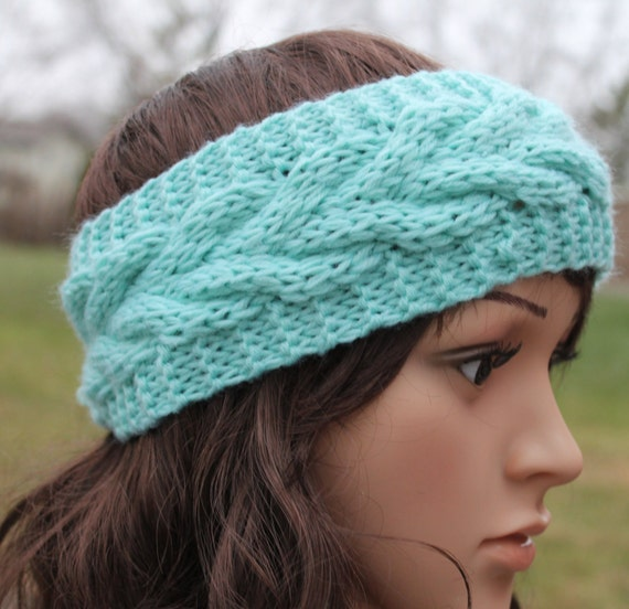 Items similar to Wide Knitted Headband, Womens Headband ...