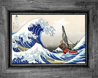 Legend of Zelda Windwaker The Great Wave of Kanagawa Art Print Poster