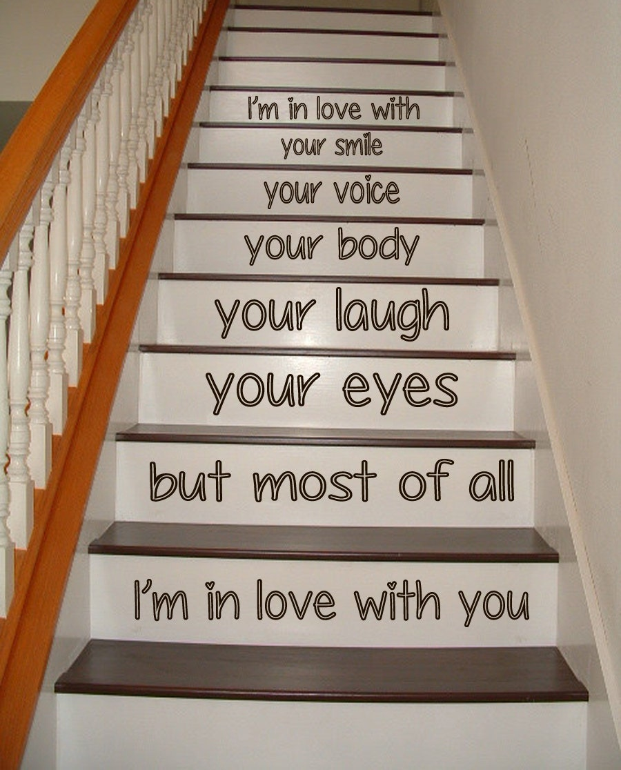 wall decals love staircase stairway stairs by decalmyhappyshop. Black Bedroom Furniture Sets. Home Design Ideas