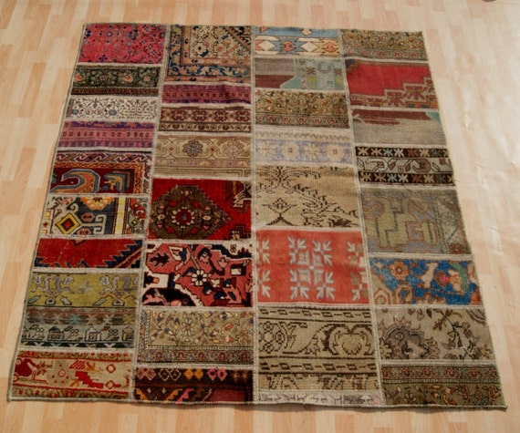 Home Decor Turkish Patchwork Rug Hand Knotted Wool By
