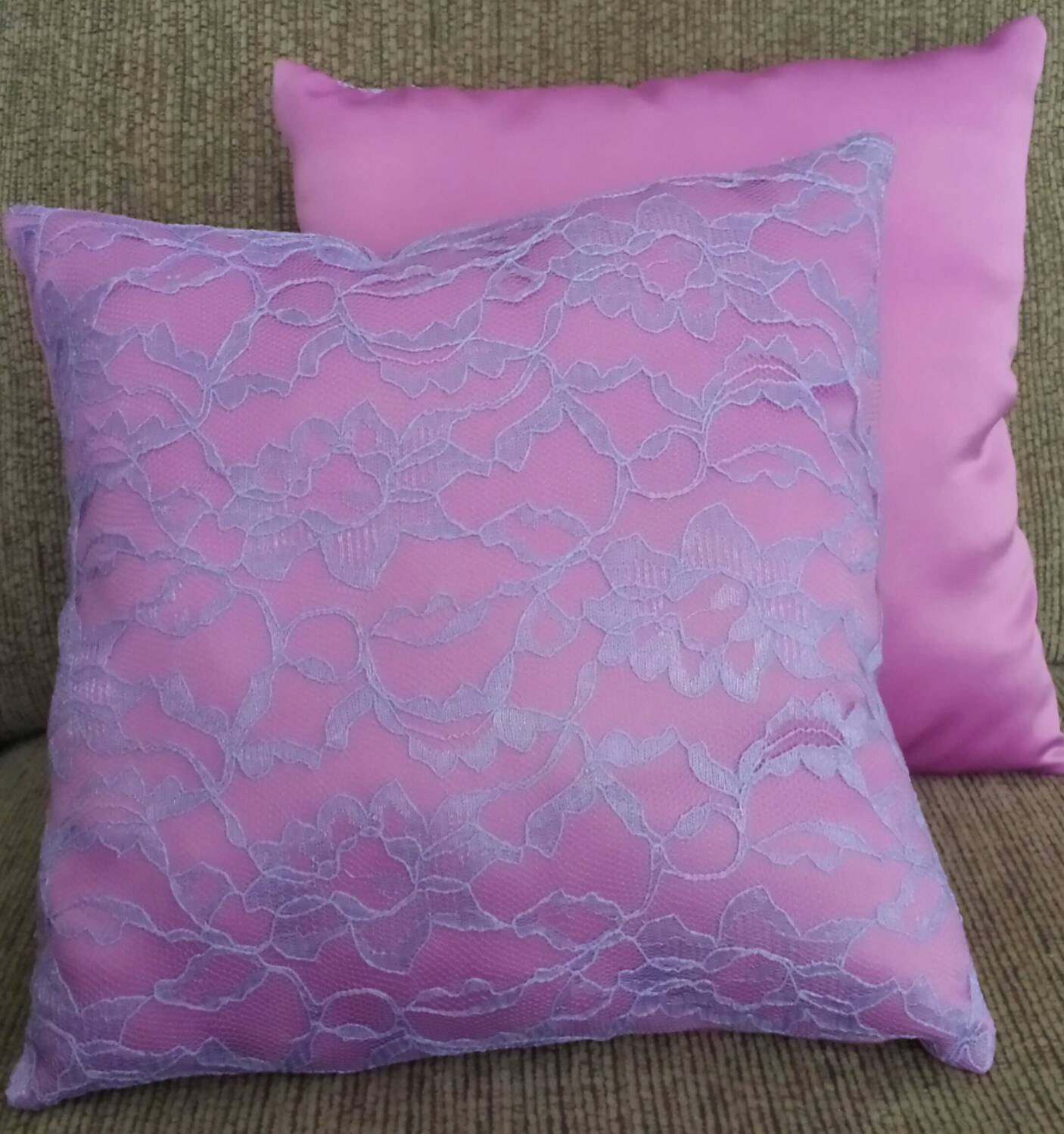 Pink Satin and Lace Princess Throw Pillow by ManicMacawBoutique